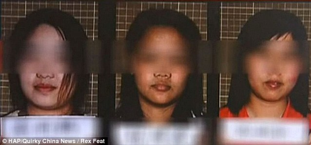 Police mugshots of the three captive women who were forced to take part in the murders of two others by sick Li Hao