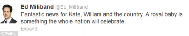 Labour leader Ed Miliband tweeted to wish William and Katherine all the best
