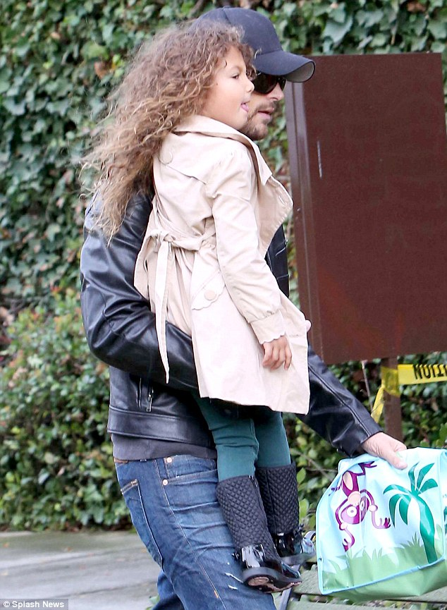 Daddy daycare: Gabriel spent time with his four-year-old daughter Nahla as he took her to school