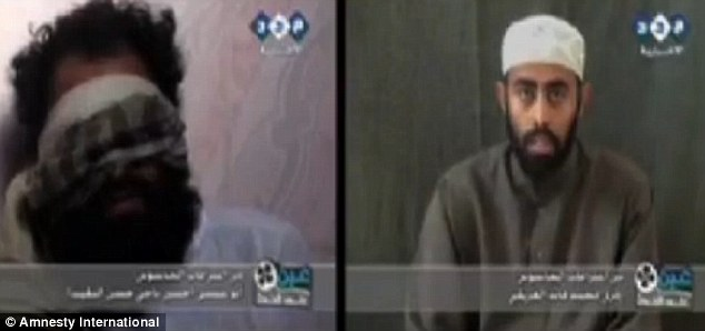 Coercion: According to a video released by Amnesty these two men are among many who were forced into making confessions to crimes by Ansar al-Sharia