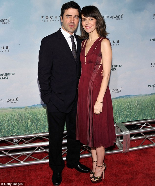 Hot couple: Rosemarie, who plays a teacher in the film, arrived with husband, actor Ron Livingston