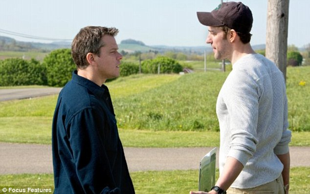 Film with a view: Damon as energy conglomerate employee Steve Butler, and Krasinski as environmentalist Dustin Noble in Promised Land