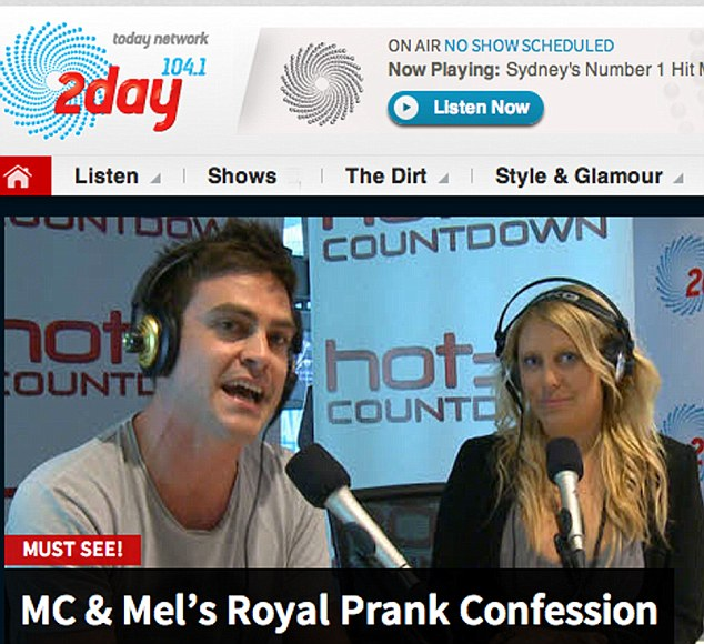 Boast: 2dayFM still have the footage advertising the stunt that has triggered revulsion around the world