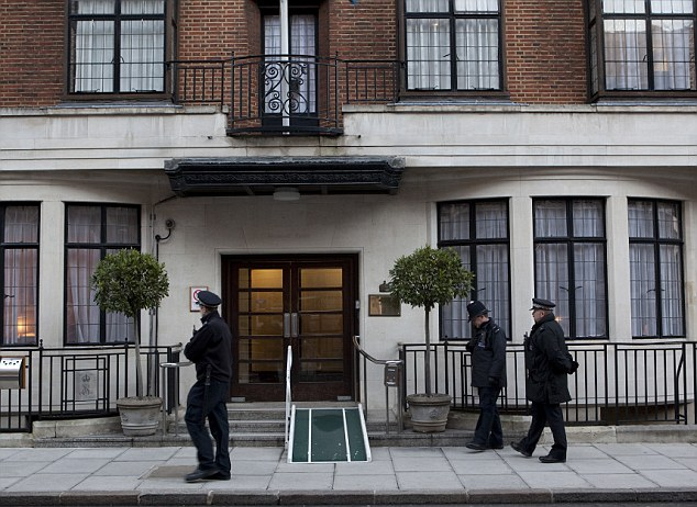 Sombre: Police guard the front of King Edward VII's hospital where Jacintha Saldanha had worked as a nurse for four years