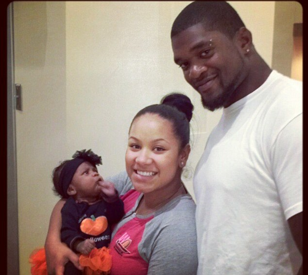 Orphaned: Belcher and his girlfriend, pictured, had a three-month-old daughter, Zoey, who is now in the custody of Belcher's mother