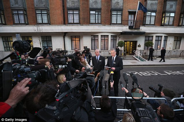John Lofthouse, right, the Chief Executive of King Edward VII hospital and Lord Glenarthur, second right, second right, the hospital's Chairman, deliver a statement to the media outside the hospital following the death of the nurse
