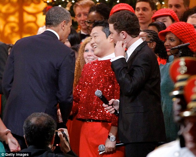 Warm welcome: President Barack Obama warmly greeted PSY at the White House, despite the rapper's anti-American lyrics
