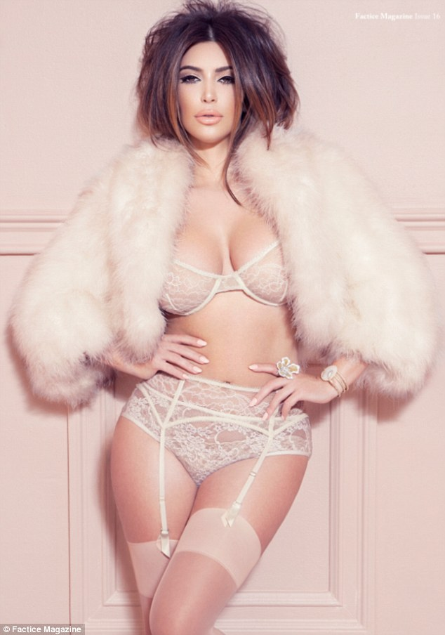 Racy in lace: Kim Kardashian displays her world-famous curves in several boudoir-inspired ensembles for French fashion magazine Factice