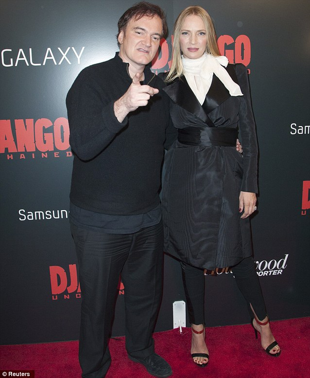 Show of support: Quentin Tarantino posed with his 'muse' Uma Thurman at the New York Django Unchained premiere in New York on Tuesday