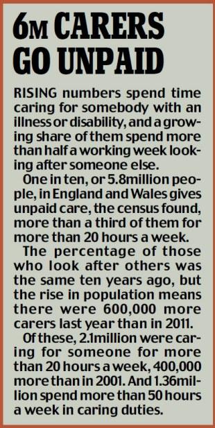 6m carers go unpaid