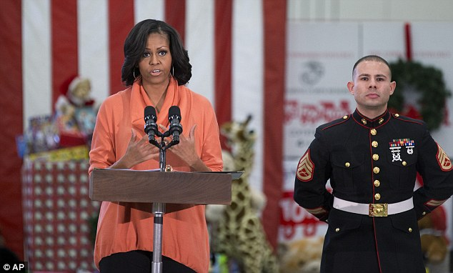 Gratitude: Speaking to a crowd of Military personnel and civilian staff on Wednesday, the First Lady thanked them for their above and beyond service to the U.S. that inspires her role in the White House