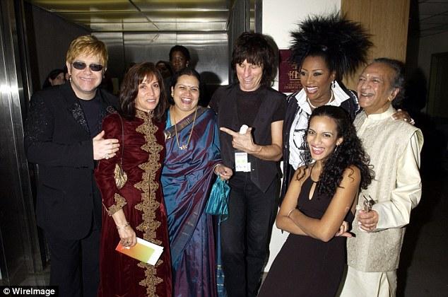 Elton John (left), guest, Jeff Beck (Centre in black), guest, Patti LaBelle (centre right), Anoushka Shankar (front right), and Ravi Shankar (right)