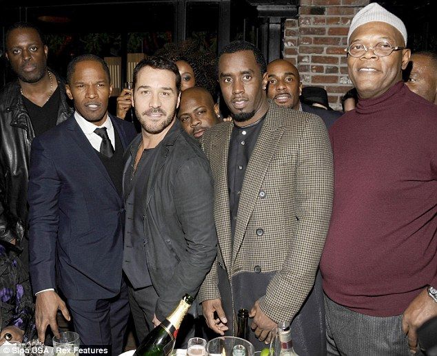 Here come the boys: P Diddy, Jeremy Piven and Samuel L Jackson joined the party