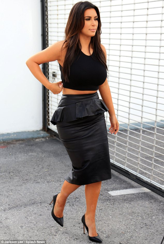 Any excuse: Of course Kim tried to make her outfit as sexy as possible by choosing leather for her skirt and pairing it with a midriff-revealing crop top