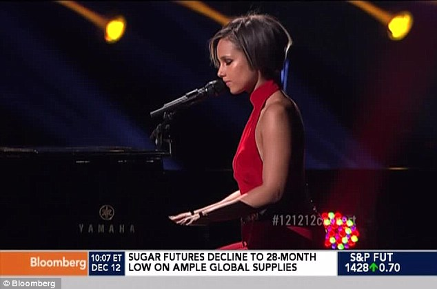Moving: Keys, from New York, performed a medley of her hits