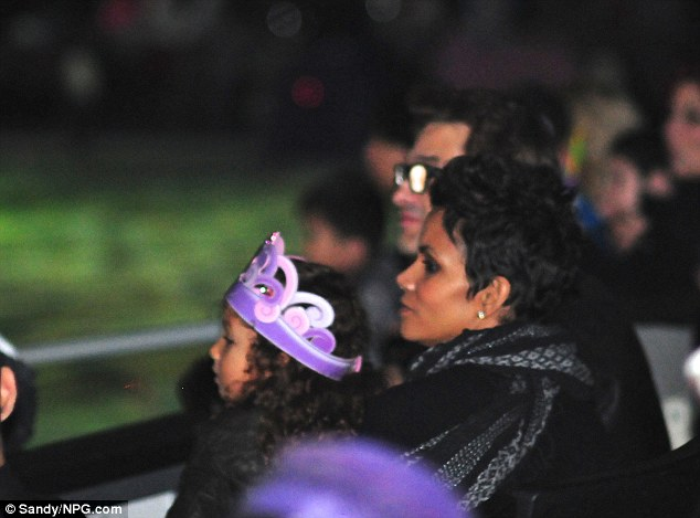 Disney princess: Little Nahla donned a purple crown as she watched the show with her controversial mother and her partner