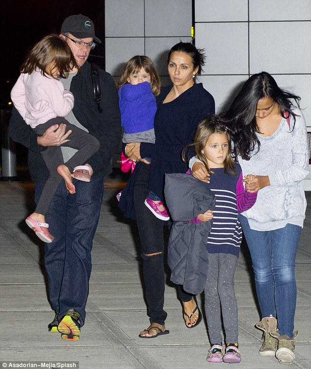 A family affair: The Good Will Hunting star had brought along his whole brood for his trip to the Big Apple