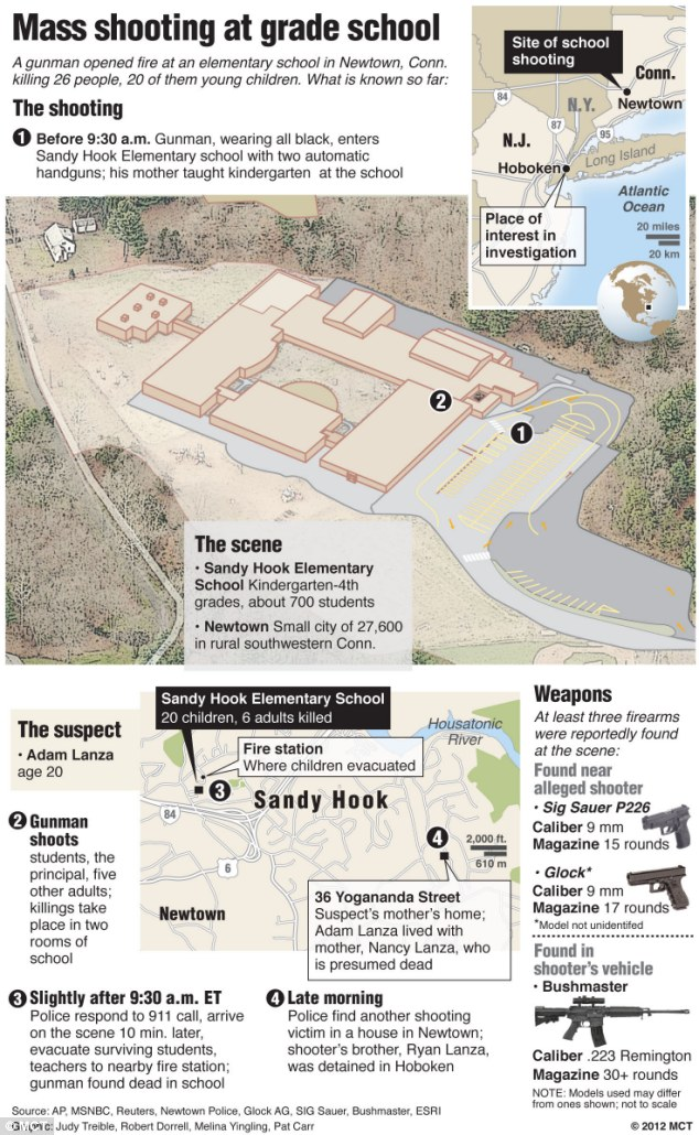 Map of area surrounding Sandy Hook Elementary School in Newtown, Connecticut, where a gunman killed at least 26 people, 20 of them small children