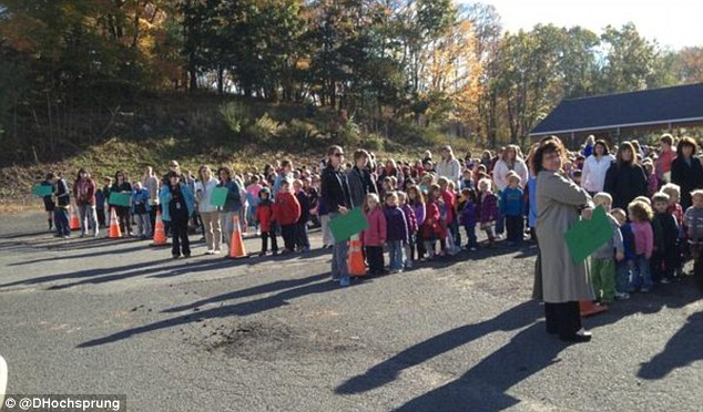 Fire drill: Mrs Hochsprung tweeted a photo her students at Sandy Hook Elementary performing an evacuation drill