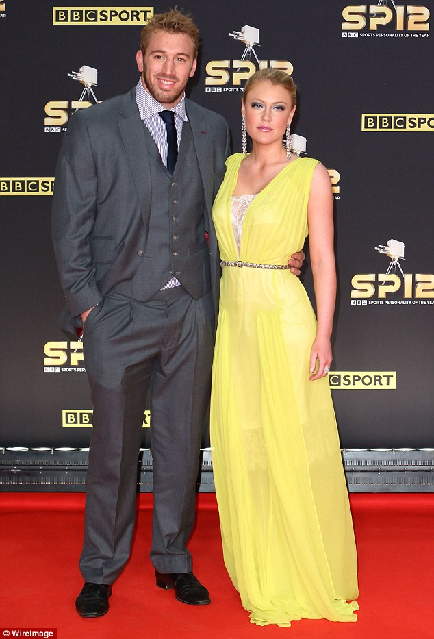 Lovely in lemon: Rugby star Chris Robshaw's girlfriend, singer Camilla Kerslake, wore one of the brightest ensembles of the evening