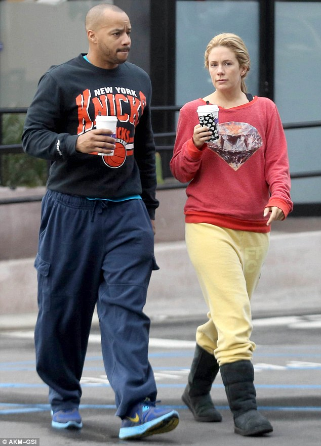 Stepping out: Newlyweds Cacee Cobb and Donald Faison make a casual coffee run in West Hollywood, Los Angeles on Monday