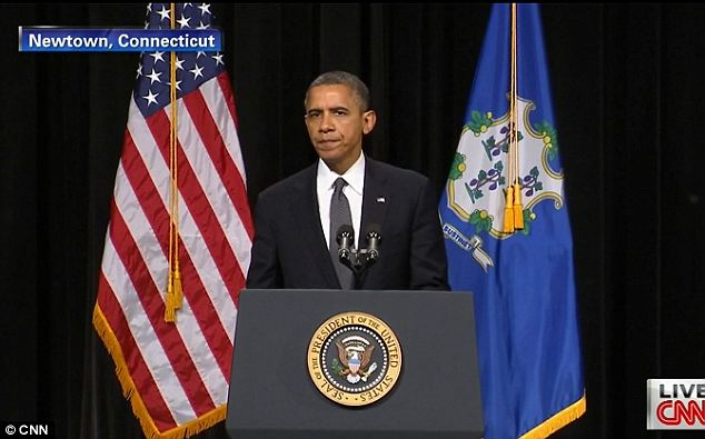 Taking the stage: President Obama spoke after representatives from a number of area religious groups