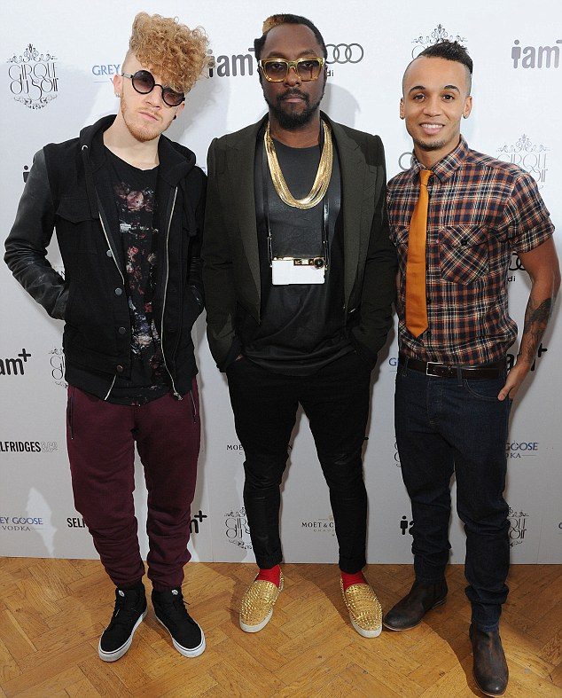 The three singers: Upcoming star Daley hangs out with will.i.am and Aston Merrygold at the party