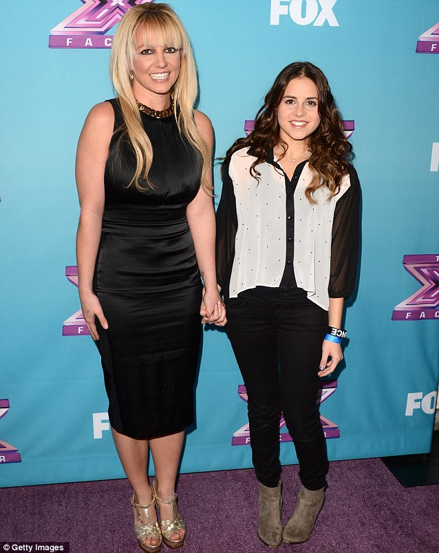 The star and her protege: Britrney Spears hold hands with her act Carly Rose Sonenclar at Tuesday's press conference before the X Factor finals