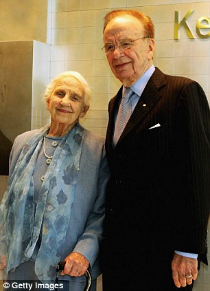 Rupert Murdoch and his mother Dame Elizabeth Murdoch attend the opening of the new Adelaide Advertiser building November 16, 2005 in Adelaide, Australia.