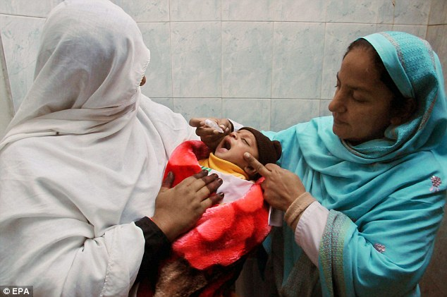 Polio campaign: Female health workers give polio vaccines to a child during a three-day nationwide vaccination campaign in Peshawar, Pakistan