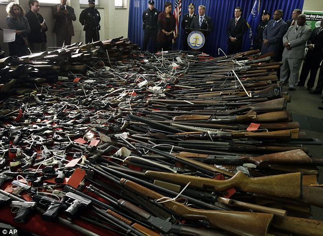 Loaded: Among the weapons collected were scores of rifles, shotguns and pistols, sawed-off shotguns, a century-old antique weapon, a rifle used for hunting elephants and five fully automatic weapons