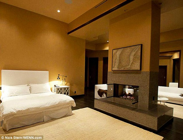 Master bedroom: A fireplace stands in the middle of the bedroom where Rihanna will presumably lay her head