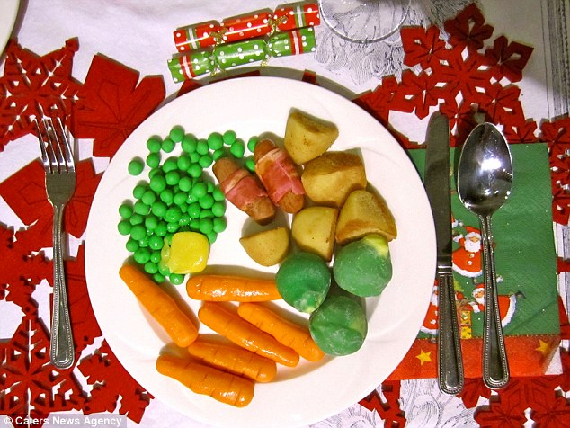 Christmas cake? Annabel's spongecake dinner includes peas, Brussels sprouts, toast potatoes, carrots and pigs in blankets
