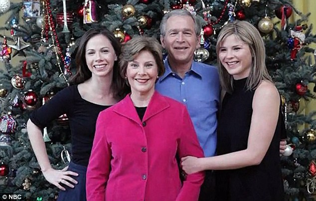 Memories: Jenna shares pictured of herself with her father former President George W. Bush, centre, mother Laura Bush and sister, Barbara, left