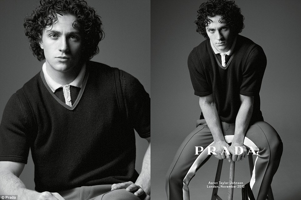 Family man: Kick-Ass star Aaron Taylor-Johnson, husband of Sam Taylor-Johnson, modelling for Prada Spring/Summer 2013