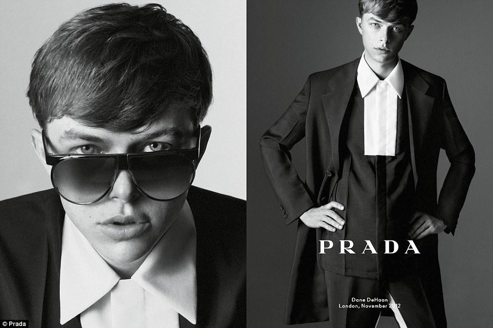 You talking to me? Dane DeHaan in Prada's simple, elegant, clean-cut spring/summer 2013 line