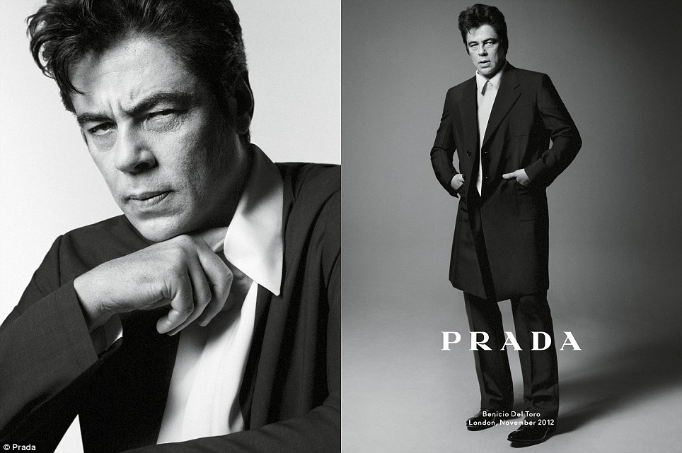 The usual suspect: Benicio Del Toro, star of Traffic and The Usual Suspects, features in the new Prada spring/summer 2013 campaign