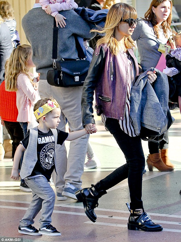Family day out: Nicole Richie and husband Joel Madden attended a recital at El Rey Theatre with their children, Harlow and Sparrow, on Wednesday in Los Angeles