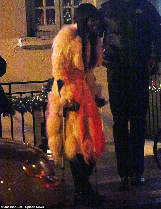 Crocked beauty: Naomi Campbell on a pair of crutches in New York City on Wednesday night