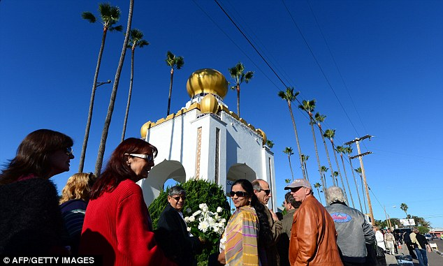 Celebrated: People wait to enter the Self Realization Fellowship grounds for the memorial