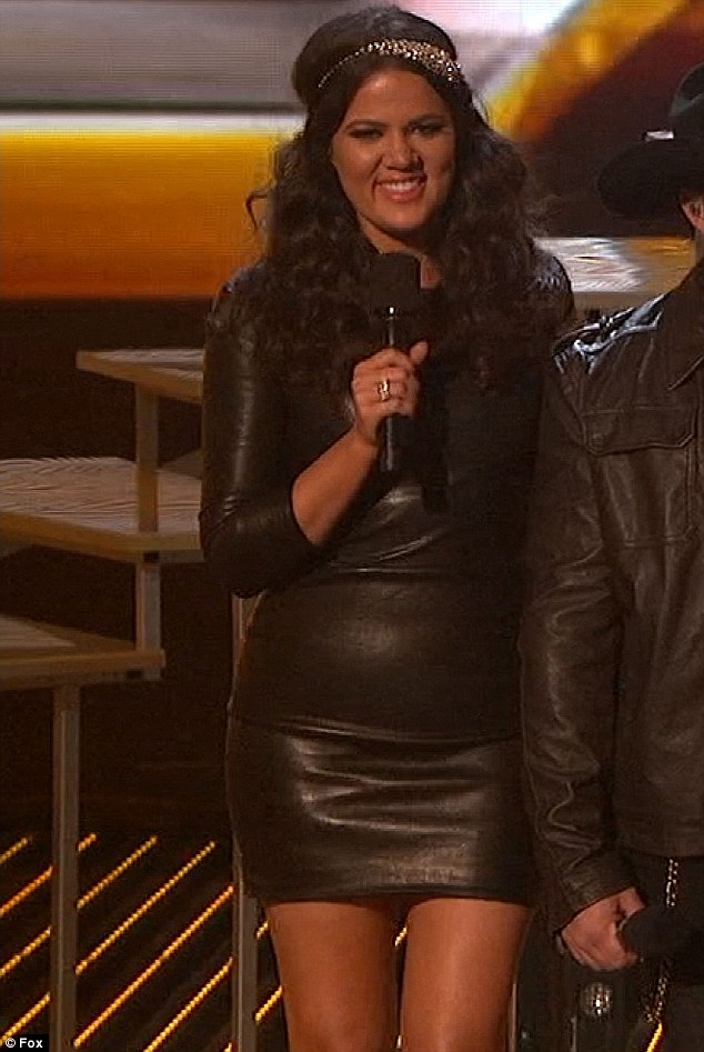 Costume change: Despite the finale only being an hour long Khloe milked her last time in the CX Factor limelight by changing outfits three times