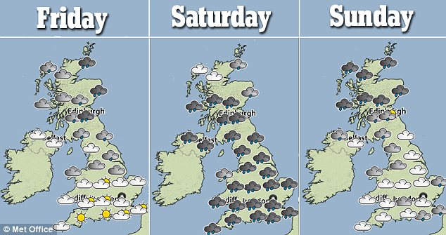Forecast: This three-day look at the weather shows how rain will sweep in on Friday and is predicted to batter most of England on Saturday
