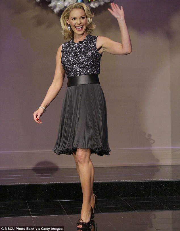 Hollywood glamour: Katherine Heigl oozed old-school glamour in a gunmetal grey sequin dress as she appeared on The Tonight Show with Jay Leno on Thursday