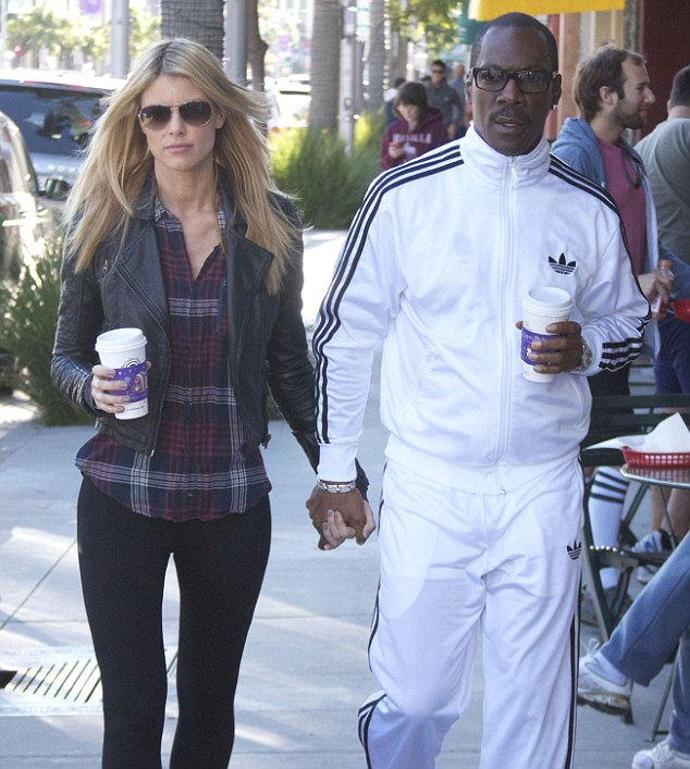 Coupled up: Eddie Murphy and his girlfriend Paige Butcher walked hand-in-hand after getting a cup of coffee in Beverly Hills on Thursday
