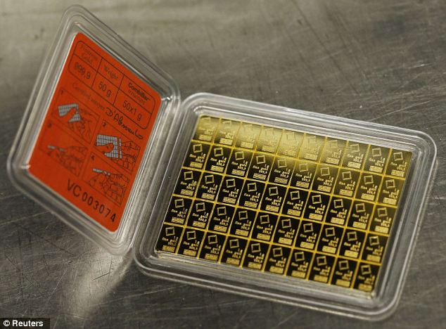 Stocking filler for the wealthy: The divisible gold bar has a purity of 99.9 percent, weighs 50 grams and also has predetermined breaking points which allow it to be easily separated into 1g pieces without any loss of material