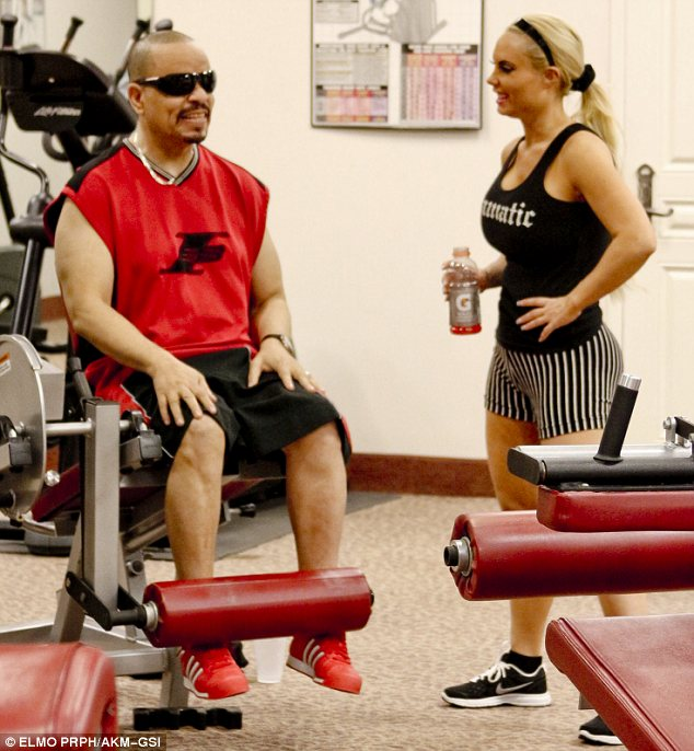 Working it out: Before they hit the stores the pair worked up a sweat at the gym together