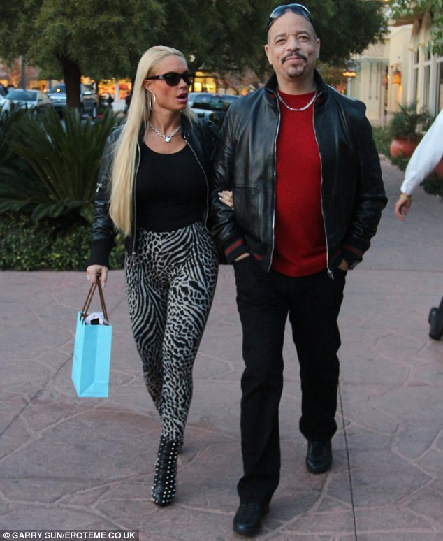 Coordinated couple: Coco and Ice-T wore matching leather jackets and the glamour model also showed her wild side in animal print