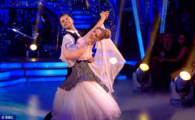 Graceful: Earlier in the evening, Kimberley and Pasha had thrilled with an elegant Viennese Waltz