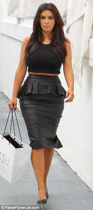 She just loves a bit of leather: Kim is often seen sporting the material