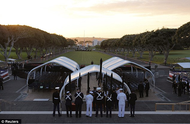 Final preparations: The Honor Guard practices before the memorial ceremony for Senator Inouye